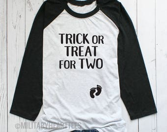 Trick or treat for two halloween maternity shirt, maternity halloween party shirt