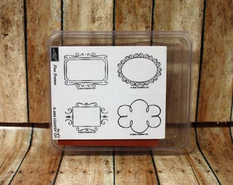 New Retired 2004 Stampin' Up! Fine Frames Stamp Set of 4 Rubber Wood Unmounted