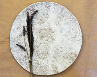 serving dinner plate, white wedding tableware, platter, ceramic gift for the couple texture white floral pattern, dinnerware, dinner plates