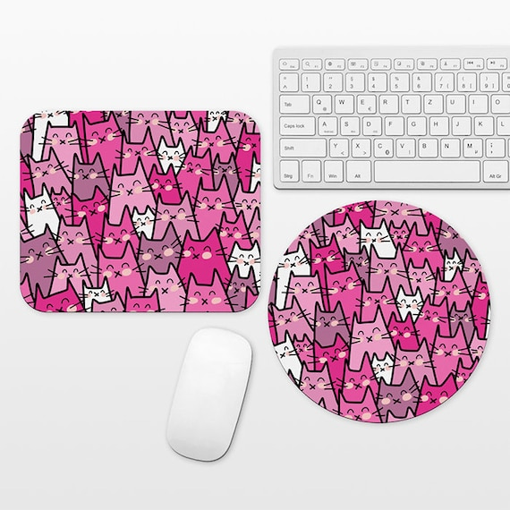 Cat Mouse Pad Round or Rectangle, Purple Pink Mouse Pad Cat Mousepad, Mouse Pad for Her, Fun Mouse Pad Animal Mouse Pad Cute Mouse Pad