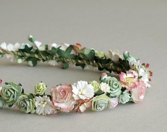 Greenery & Peach Flower Crown - Paper flower hair accessory - Sage green, and peach pink - Made of mulberry paper and natural twine