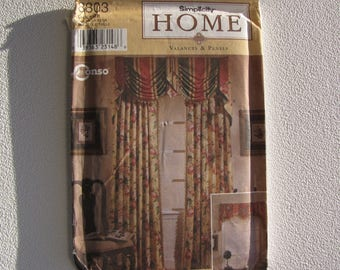 Simplicity 8803 - Valances and Panels - Uncut - Valences and Jabots Mounted on Boards - Curtain Panels and Tiebacks - MSRP 11.95