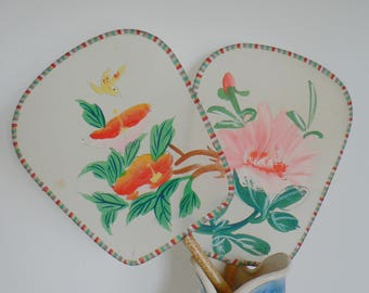 Two antique Japanese hand-painted, silk and bamboo, flat fans