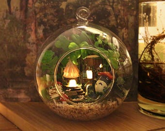 My neighbor totora - forest - Glass Ball * Light* DIY Handcraft Miniature Project * Doll house* Gift