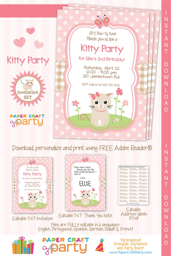 Kitty Invitation Printable Kitten Invite Kitty Cat Party Invite