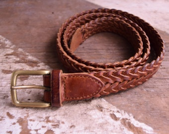 Vintage Braided Leather Belt - English leather belts - 32/80 - Woven leather belt, made in England - Bohemian belt - hippie belt, boho brown