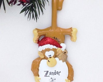 Monkey Personalized Christmas Ornament / Monkey with Snowball in Santa Hat / Zoo Ornament / Hand Personalized Ornament
