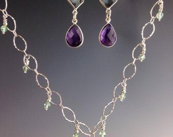 """Amethyst necklace, Amethyst Jewelry, Swarovski crystals, Bridal jewelry, aqua Quartz, Sterling necklace, February birthstone - """"Lisbon"""""""