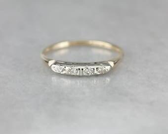 Retro Era Diamond Wedding Band, Vintage Anniversary Band, Promise Ring 7PJJ5Z-N