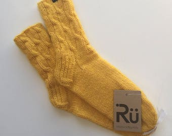 Yellow Soft, long-lasting hand knitted socks Warm socks Soft winter socks Boots socks Slipper socks Cable knit socks Mohair yarn socks