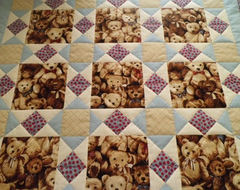 Teddy Bear Quilt for Baby Boy