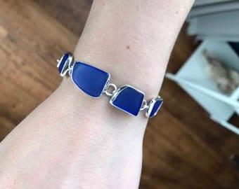 Beautiful sterling silver blue beach glass bracelet