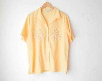 pastel yellow floral embroidered oversized shirt blouse 70s // L