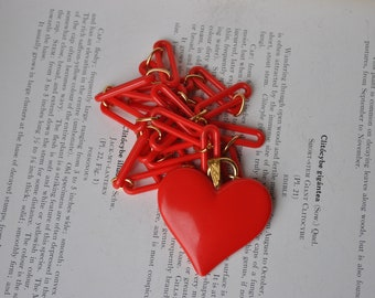 Vintage Red Heart Necklace - 1950s Mid Century Plastic Heart Necklace