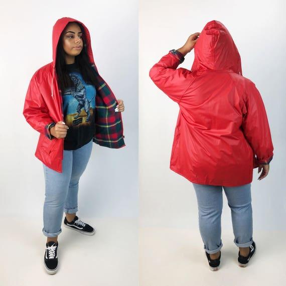 90's Red Hooded PVC Rain Coat w/ Flannel Lining Large - Flannel Lined Zip Up Slicker - Classic Hooded Rain Coat Women Rain Coat Outerwear