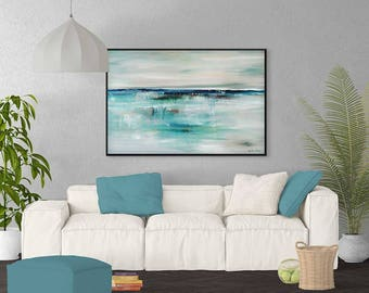 Large Abstract Ocean Painting, Large Seascape Painting, Turquoise Painting, Gray Blue Painting, Coastal Art, Modern Wall Art, Giclee Print
