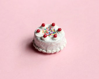 Miniature Birthday Cake Magnet, Polymer Clay Magnet, Food Magnet