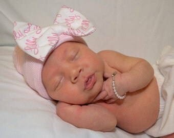 New Improved Round Top!! Hospital Newborn Beanie with Personalized Baby Name Bow! Newborn Hat, Baby Girl Hospital Hat.