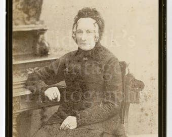 Cabinet Card Photo - Victorian Old Lady, Ringlets and Dark Bonnet Seated Portrait - W Guttenberg of Bristol England - Antique Photograph