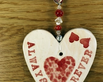 Always & Forever Pottery Heart, a lovely gift for an Anniversary, Marriage or to say I Love You. Which will arrive in a white gossamer bag.