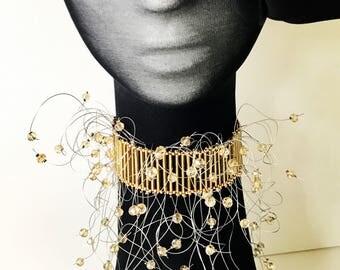 Gold Necklace, crystal necklace, gorgeous, Miyuki bugle beads, elegant style, choker