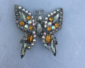 Vintage Rhinestone Butterfly Brooch Pin, Amber Clear Rhinestone Butterfly