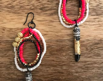 African Sunset Earrings  - Neon Pink Ethiopian Opals, Pyrite, Clay Spike, Black Spinel