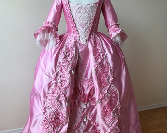 Size 6/8 Candy Pink 18th Century Rococo Gown Ready to Ship