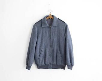 Vintage Herringbone Wool Bomber Jacket - Made in France - S