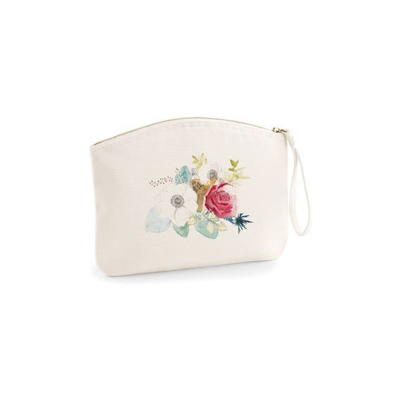 Big Pouch, Watercolor flowers, novelty gift, gift for coworker, organic cotton.
