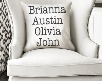 18x18 Custom Names Pillow - Grandparent Gift - Pillow or Pillow Cover - Gift for Mom Dad Grandma Grandpa - Grandchildren Names - Custom Gift