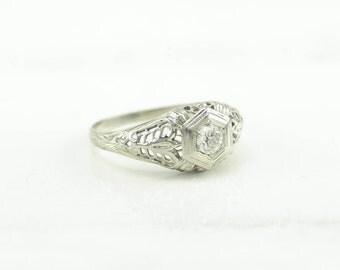 Art Deco 18k 1/5 CT Diamond Ring White Gold Filigree Size 6.5