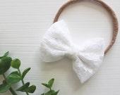 White Lace Bow Headband, ...