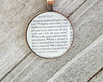 The Great commandment/Vintage Necklace Pendant/Gift for Her/Gift for mom/Gift for Wife/Christian Jewelry/Vintage Jewelry/Custom Jewelry