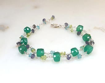 Multi Gemstone Sterling Silver Double Strand Stacking Bracelet Iolite Peridot Green Amethyst Apatite Boho Layering Fine Jewelry Life Bijou