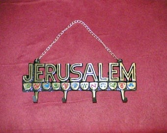 Wall key holder,jerusalem souvenir,1970's,four hooks,twelve tribes of israel,12 tribes,made in israel,made of brass