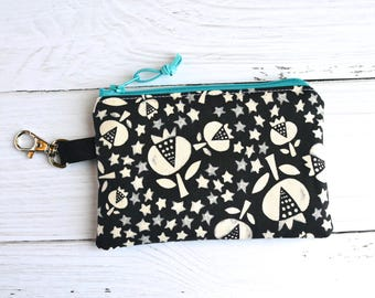 Coin Purse with Swivel Clip/ Mini Zipper Pouch/ ID Card Wallet/ Black and White Flower Shop