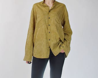 90s Jean Chatel stand-up collar asian style mustard shirt / size M-L