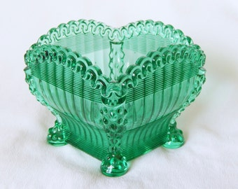 Vintage Green Pressed Glass Candy Dish Bowl - Collectible