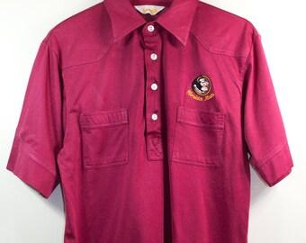 VTG FSU TOP ϟ 70'S Long Collar Embroidered Florida State Seminoles Football Retro Coaches Button Up + Oxford / Polo / Shirt / Top