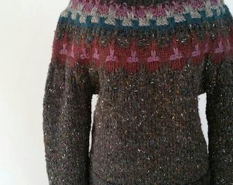 Vintage Women's Sweater, Chunky Handknit Tweed, Boatneck 80s, Winter Handmade Charcoal Lavender