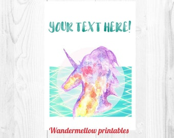 Custom A4 Galaxy Unicorn printable!!!  Personalised decor for your home,  office, nursery or gift ; Unicorn print, wall art,  thank you card