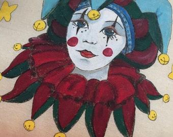 Handmade, Hand painted Pillow.  Harlequin Jester Clown