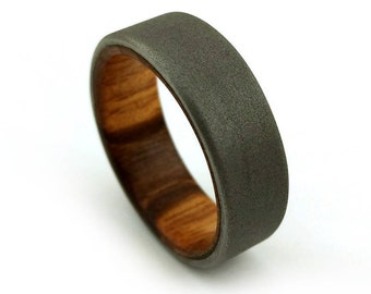 Exotic Wood Ring, Goncalo Alves Titanium, Exotic Wood Band, Wooden Wedding Design, Handmade Jewelry, Metalsmith Ring, Metalwork Ring, GJG