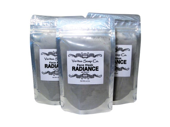 RADIANCE Face Mask - Activated Charcoal, Vitamin-C, Matcha Green Tea, AMLA Fruit Powder, Moringa & Pumice Powder - VEGAN / Dull Skin