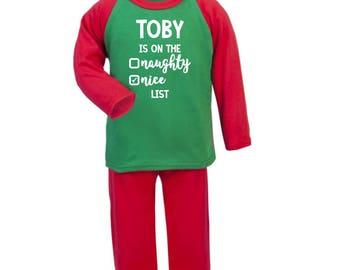 Christmas Pyjamas | Nice List | Naughty or Nice | Christmas PJS | Xmas Pyjamas | Personalised Pyjamas | Pajamas | Toddler Pyjamas | Xmas Eve