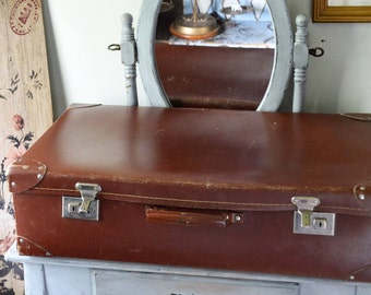 Vintage Fiberboard Suitcase, Lion Brand Luggage, Travel Case, Compressed Fiber, Made in England, Faux Leather