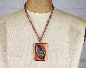 Modernist Copper Leaf Pendant Necklace