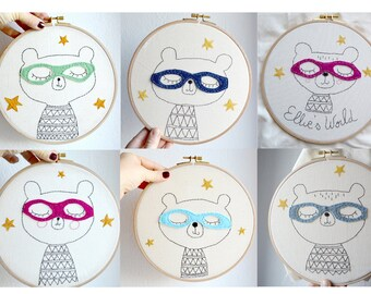 Personalized embroidery hoop/wall art/fiber art/Nursery decor/babygift/Superhero Bear/baby room decor/children gift/8 inches/made to order