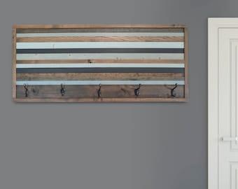 Large, Rustic, Reclaimed Wood Coat Rack, Wood Wall Art
